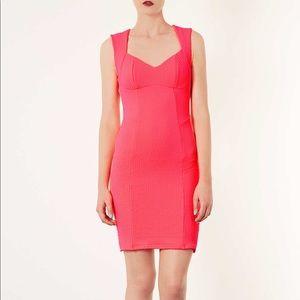 Topshop Petite Neon Pink Bodycon Open Back Dress